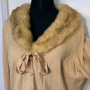 Jessica Vintage Faux Fur Collar ButtonDownCardigan